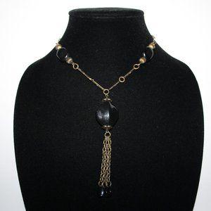 "Vintage bronze and black necklace 14"""